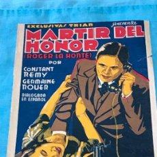 Cine: EXCLUSIVAS TRIAS PRESENTA: MARTIR DEL HONOR, ROGER LA HONTE. CON CONSTAND REMY, SIN PUBLICIDAD. Lote 163611902