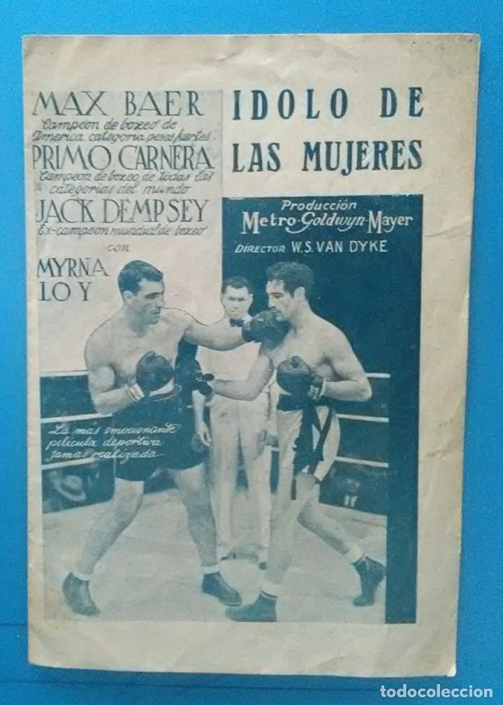 IDOLO DE LAS MUJERES PROGRAMA DOBLE MGM MYRNA LOY MAX BAER PRIMO CARNERA JACK DEMPSEY (Cine - Folletos de Mano - Deportes)