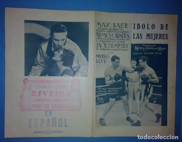 Cine: IDOLO DE LAS MUJERES PROGRAMA DOBLE MGM MYRNA LOY MAX BAER PRIMO CARNERA JACK DEMPSEY - Foto 4 - 163703942