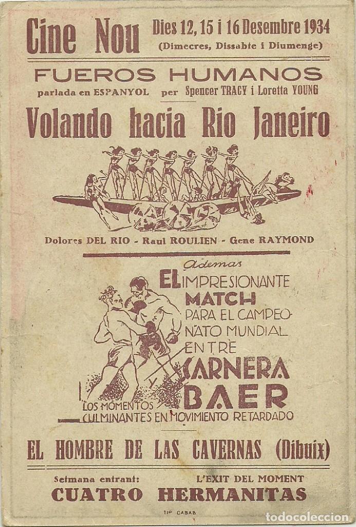 Cine: (PG-190463)PROGRAMA DE CINE FUEROS HUMANOS - CINE NOU - AÑO 1934 - Foto 2 - 163758630