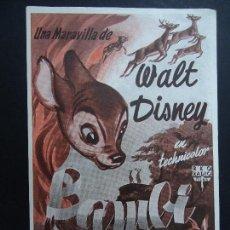 Cine: WALT DISNEY BAMBI AÑOS 40 PUBLICIDAD WINDSOR PALACE CRISTINA SENCILLO GRANDE 17,5 X 11,5 CM. MUY BIE. Lote 163762950