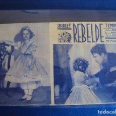 Cine: (PG-190476)PROGRAMA DE CINE - REBELDE - SHIRLEY TEMPLE - CINE NOU - AÑO 1936. Lote 163878374