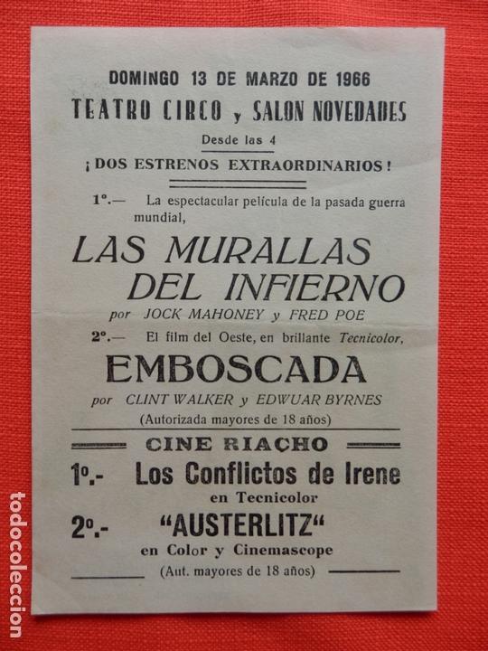 Cine: las murallas del infierno, impecable sencillo, jock mahoney, c/publi teatro circo - Foto 2 - 163952438