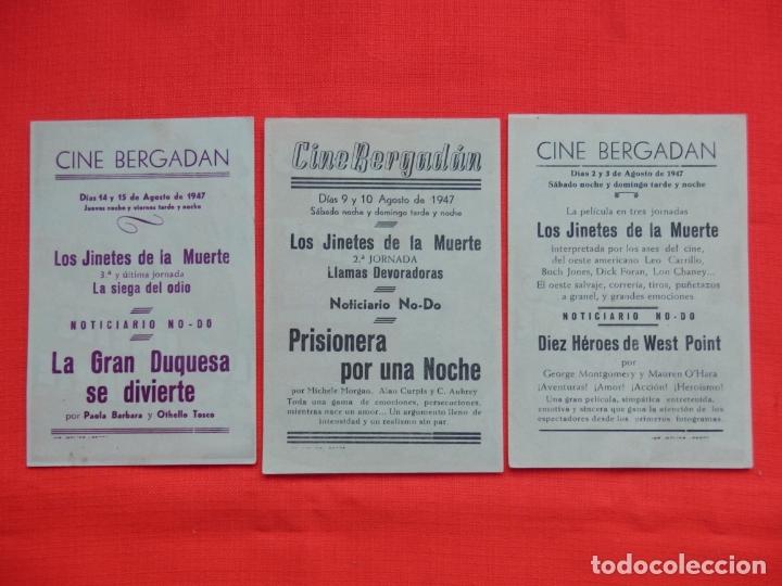 Cine: los jinetes de la muerte, 3 impecables sencillos, dick foran, c/publi los 3 cine bergadan 1947 - Foto 2 - 163973746
