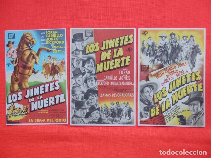 LOS JINETES DE LA MUERTE, 3 IMPECABLES SENCILLOS, DICK FORAN, C/PUBLI LOS 3 CINE BERGADAN 1947 (Cine - Folletos de Mano - Westerns)