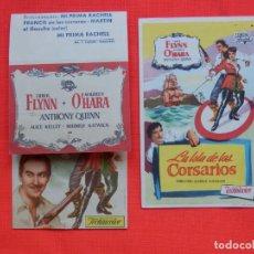 Cine: LA ISLA DE LOS CORSARIOS DOBLE Y SENCILLO EXCTE ESTADO ERROL FLYNN C/PUBLI CINE MONTBLANCH/COCA 1953. Lote 163974554