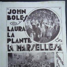 Cinema - LA MARSELLESA - PROGRAMA DE MANO DOBLE - AÑO 1930 Publicidad Cine A. Concert LA MARSELLESA. Programa - 164549090
