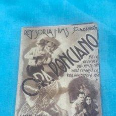 Cine: ORA PONCIANO, FOLLETO DOBLE GRANDE,CON PUBLICIDAD. Lote 164603010