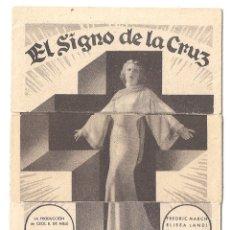 Cine: PTEB 058 EL SIGNO DE LA CRUZ PROGRAMA TROQUELADO CECIL B. DEMILLE ELISSA LANDI CLAUDETTE COLBERT. Lote 164604162