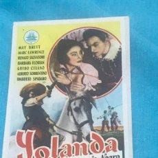 Cine: YOLANDA, LA HIJA DEL CORSARIO NEGRO. SENCILLO DE CIFESA. CON PUBLI. Lote 164606954
