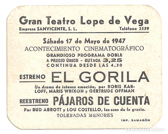 Cine: PTEB 059 EL GORILA PROGRAMA TROQUELADO ELIAS BORIS KARLOFF TERROR - Foto 2 - 164612830
