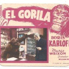 Cine: PTEB 059 EL GORILA PROGRAMA TROQUELADO ELIAS BORIS KARLOFF TERROR. Lote 164612830