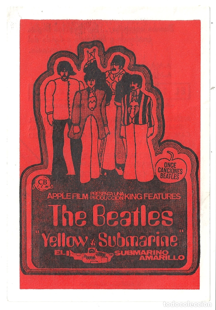 PTEB 059 SUBMARINO AMARILLO YELLOW SUBMARINE PROGRAMA SENCILLO CB FILMS THE BEATLES RARO (Cine - Folletos de Mano - Musicales)