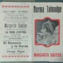 Cine: MARGARITA GAUTIER - PROGRAMA DE CINE DOBLE AÑO 1927. Lote 164620742