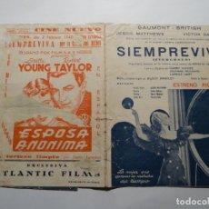 Cine: SIEMPRE VIVA FOLLETO DE MANO ORIGINAL ESTRENO CON CINE IMPRESO. Lote 164637814