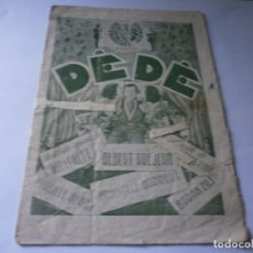 Cine: PROGRAMA DOBLE - DEDÉ - ALBERT PREJEAN, DANNIELLE DARRIEUX - IDEAL CINEMA - 1935.. Lote 164683890
