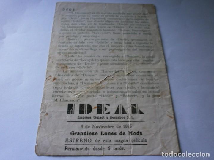 Cine: PROGRAMA DOBLE - DEDÉ - ALBERT PREJEAN, DANNIELLE DARRIEUX - IDEAL CINEMA - 1935. - Foto 3 - 164683890