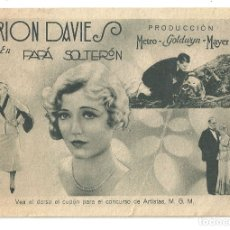 Cine: PTEB 060 PAPA SOLTERON PROGRAMA DOBLE MGM MARION DAVIES RAY MILLAND RALPH FORBES CONCURSO MGM. Lote 164690642