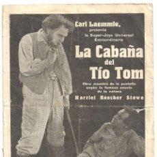 Cine: PTEB 060 LA CABAÑA DEL TIO TOM PROGRAMA DOBLE UNIVERSAL JAMES B LOWE MARGARITA FISCHER CINE MUDO. Lote 164719890