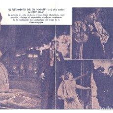 Cine: PTEB 060 EL TESTAMENTO DEL DR MABUSE PROGRAMA DOBLE U FILMS FRITZ LANG. Lote 164741094
