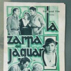 Cine: LA ZARPA DEL JAGUAR - 1933 - PROGRAMA DE CINE DOBLE EN MUY BUEN ESTADO. Lote 164745250