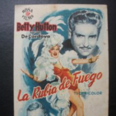 Flyers Publicitaires de films Anciens: LA RUBIA DE FUEGO, BETTY HUTTON, CINES BOHEMIO Y GALILEO, 1955. Lote 164786358