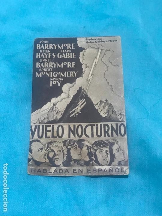 VUELO NOCTURNO PROGRAMA TARJETA MGM, CLARK GABLE, J. BARRYMORE CON PUBLICIDAD (Cine - Folletos de Mano - Bélicas)