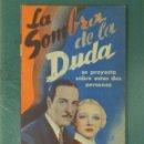 Cine: LA SOMBRA DE LA DUDA - 1936 - PROGRAMA DE MANO DOBLE. Lote 164840646