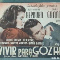 Cine: VIVIR PARA GOZAR - PROGRAMA DOBLE DE MANO DE CINE. Lote 164841530