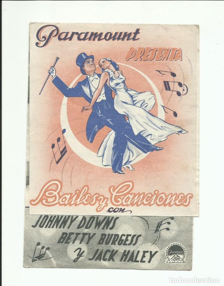 PROGRAMA ORIGINAL CINE DOBLE BAILES Y CANCIONES PARAMOUNT (Cine - Folletos de Mano - Musicales)