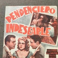 Cine: PENDENCIERO INDESEABLE - PROGRAMA DOBLE CON PUBLICIDAD. Lote 164865070