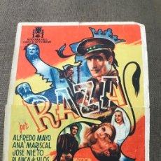 Cine: PROGRAMA DE CINE - RAZA - ALFREDO MAYO, ANA MARISCAL -SIN CINE. Lote 164890726