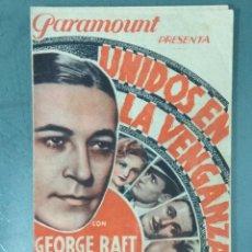 Cine: UNIDOS EN LA VENGANZA (1934) PROGRAMA DOBLE DE MANO.. Lote 164943142