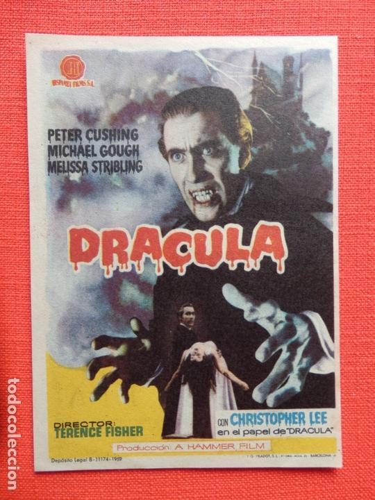 DRACULA, IMPECABLE SENCILLO, PETER CUSHING, CON PUBLICIDAD KURSAAL (Cine - Folletos de Mano - Terror)