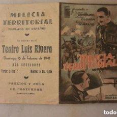 Cine: FOLLETO MANO CINE DOBLE MILICIA TERRITORIAL. Lote 165056810