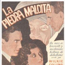Cine: PTCC 037 LA PIEDRA MALDITA PROGRAMA SENCILLO GRANDE DAVID MANNERS PHYLLIS BARRY WILKIE COLLINS. Lote 165087534