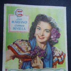 Cine: VIOLETAS IMPERIALES 1952 LUIS MARIANO, CARMEN SEVILLA CINE COLISEO EQUITATIVA . Lote 165087554