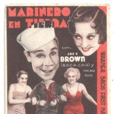Cine: PTCC 037 MARINERO EN TIERRA PROGRAMA TARJETA WARNER JOE E. BROWN THELMA TODD JEAN MUIR. Lote 165091418