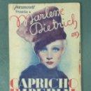 Cine: CAPRICHO IMPERIAL (1935) (MARLENE DIETRICH) PROGRAMA DE MANO DOBLE.. Lote 165115730