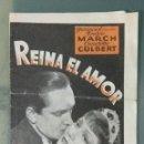 Cine: REINA EL AMOR - 1934 - PROGRAMA DOBLE DE MANO. Lote 165116902