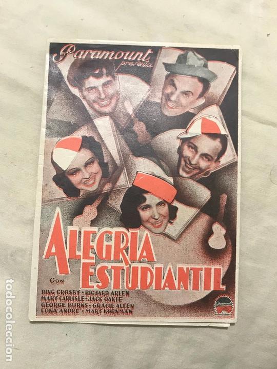 PTEB 028 ALEGRIA ESTUDIANTIL PROGRAMA DOBLE PARAMOUNT BING CROSBY MARY CARLISLE SIN PUBLI (Cine - Folletos de Mano - Comedia)