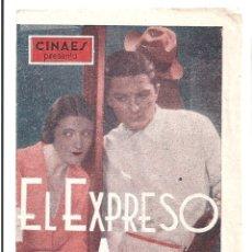 Cine: PTCC 039 EL EXPRESO DEL AMOR PROGRAMA DOBLE CINAES ROGER TREVILLE JANINE GUISE. Lote 165240342