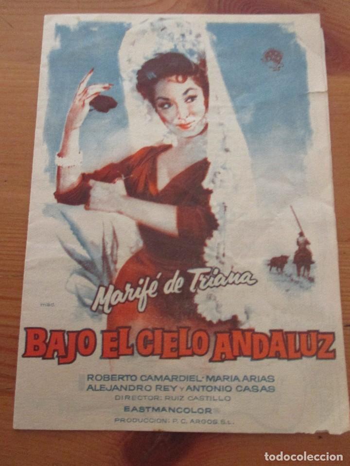 BAJO EL CIELO ANDALUZ MARIFÉ DE TRIANA DESPLEGABLE CON LETRAS CANCIONES (Cine - Folletos de Mano - Musicales)