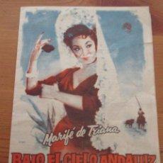 Cine: BAJO EL CIELO ANDALUZ MARIFÉ DE TRIANA DESPLEGABLE CON LETRAS CANCIONES. Lote 165247746