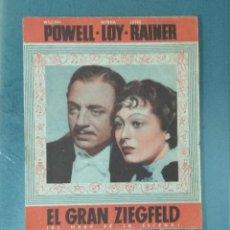 Cine: EL GRAN ZIEGFELD - AÑOS 30 - PROGRAMA DE MANO DOBLE.. Lote 165260778