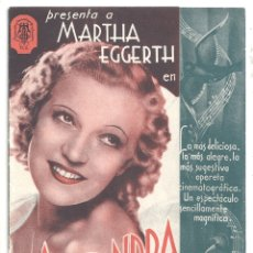 Cine: PTCC 040 ALONDRA PROGRAMA DOBLE PROCINES MARTHA EGGERTH. Lote 165370954