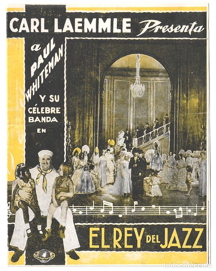PTCC 041 EL REY DEL JAZZ PROGRAMA DOBLE UNIVERSAL AMARILLO PAUL WHITEMAN JOHN BOLES (Cine - Folletos de Mano - Musicales)