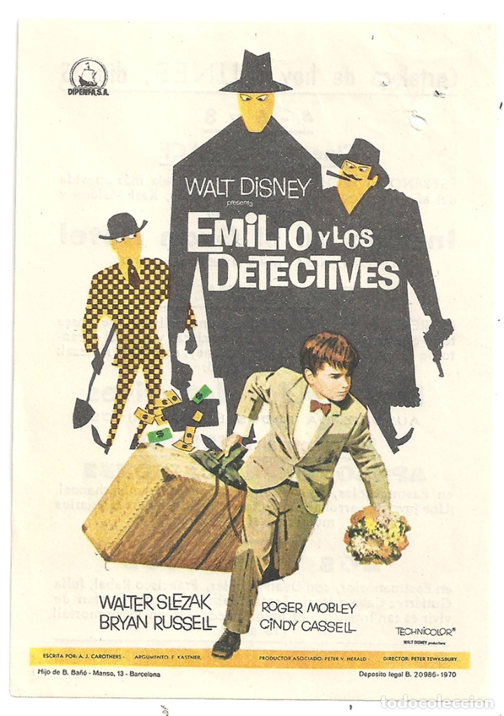 PTCC 042 EMILIO Y LOS DETECTIVES PROGRAMA SENCILLO DIPENFA WALT DISNEY RARO (Cine - Folletos de Mano - Infantil)