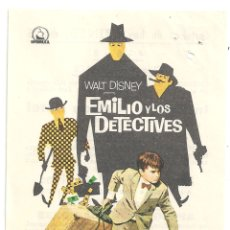Cine: PTCC 042 EMILIO Y LOS DETECTIVES PROGRAMA SENCILLO DIPENFA WALT DISNEY RARO. Lote 165383426
