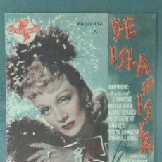 Cine: DE ISLA EN ISLA (MARLENE DIETRICH). PROGRAMA DE MANO DOBLE.. Lote 165396062